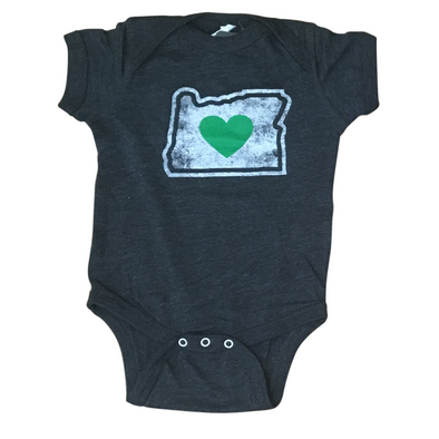 green heart in oregon charcoal baby onesie