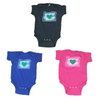 green heart in oregon charcoal blue pink baby onesie