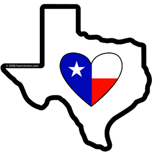 heart in texas with state flag heart blue with white star and white and red