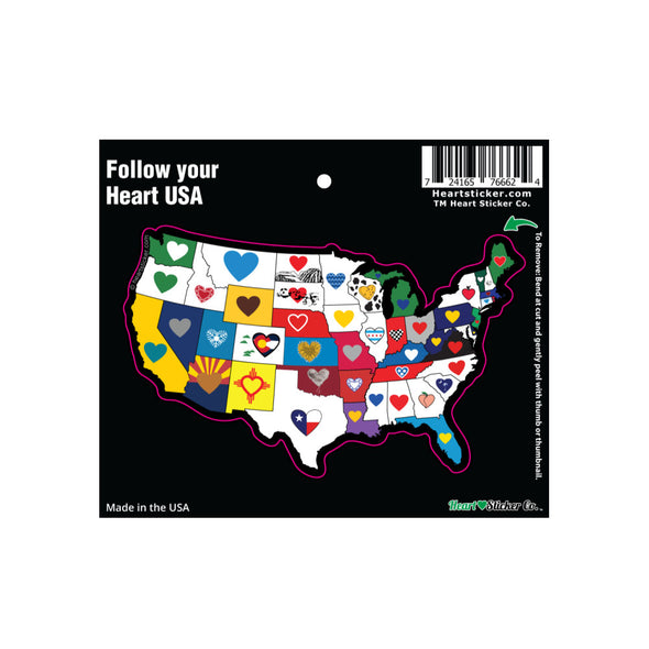 continental USA map with a heart in each state multiple color with upc