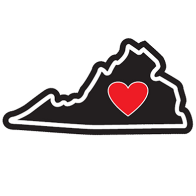 Virginia - Heart in Virginia Sticker - The Heart Sticker Company