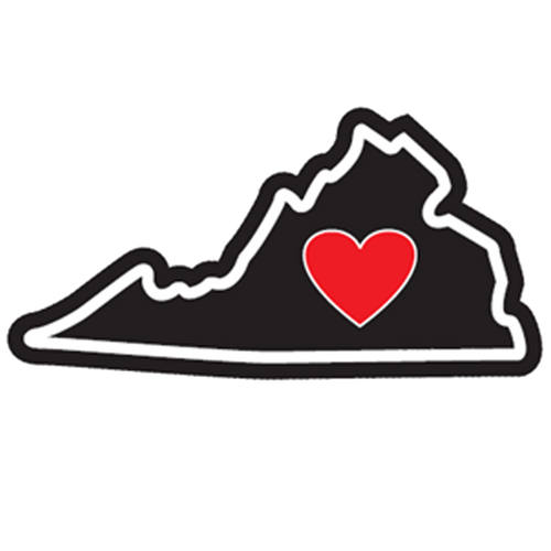Heart in Virginia Sticker - The Heart Sticker Company