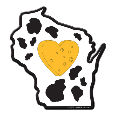 Wisconsin - Heart in Wisconsin Sticker - The Heart Sticker Company