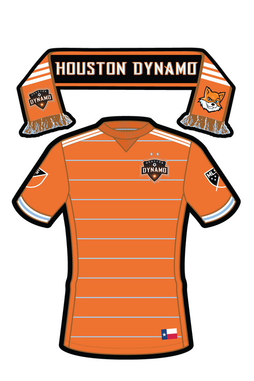 MLS Houston Dynamo in Uniform/Scarf Sticker (TX) Uniform/Scarf Sticker- Single