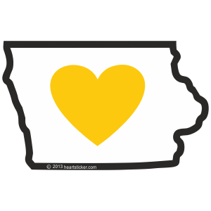 Heart in Iowa Sticker - The Heart Sticker Company