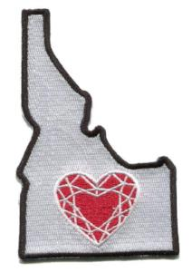 Idaho - Heart in Idaho ID Embroidered Sticker - Single
