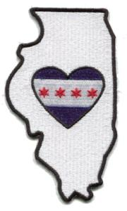 Patch | Heart In Illinois | Sticky-Back - The Heart Sticker Company