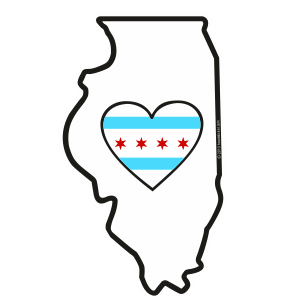 Heart in Illinois Sticker chicago city flag heart - The Heart Sticker Company