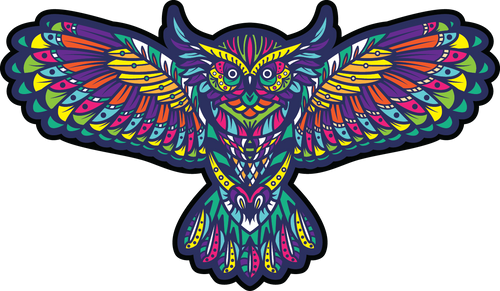 Kaleidopscope Owl Color Tribal Trippy Sticker Design Birds Wings Mulitcolor Heartsticker