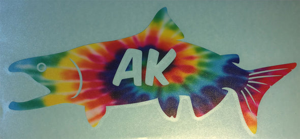 Sticker | Alaskan King Salmon | Vinyl Transfer (Silver metallic) - The Heart Sticker Company
