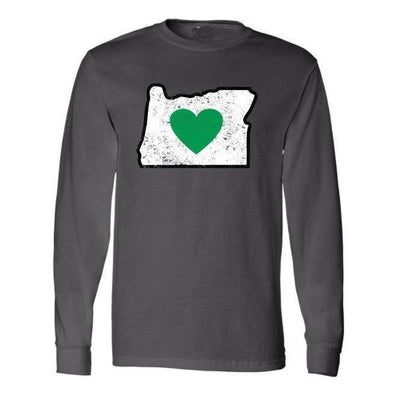 Long Sleeve Charcoal Unisex T-Shirt Vintage Heart in Oregon - Heart In Oregon
