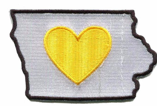 Iowa - Heart in Iowa IA Embroidered Sticker - Single