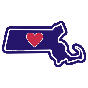 Heart in Massachusetts Sticker - The Heart Sticker Company