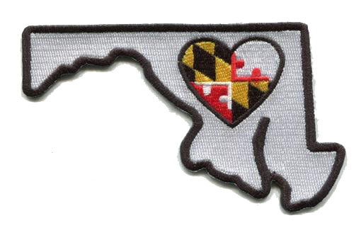 Maryland - Heart in Maryland MD Embroidered Sticker - Single