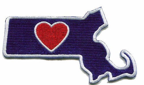 Massachusetts - Heart in Massachusetts MA Embroidered Sticker - Single