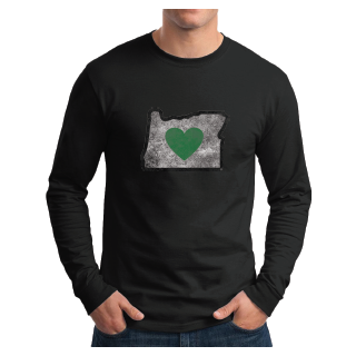Men's Charcoal Vintage Heart in Oregon Long Sleeve Shirt