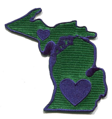 Patch | Heart In Michigan | Sticky-Back - The Heart Sticker Company