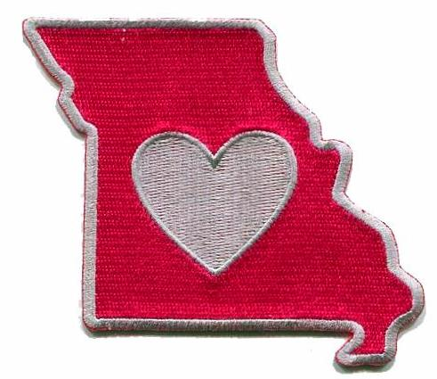 Missouri - Heart in Missouri MO Embroidered Sticker - Single