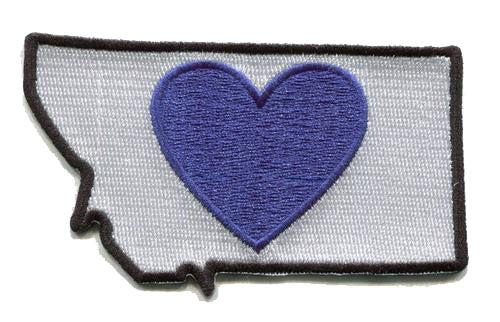 Montana - Heart in Montana MT Embroidered Sticker- Single