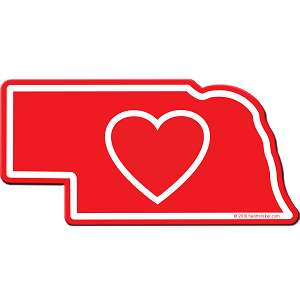 Heart in Nebraska Sticker - The Heart Sticker Company
