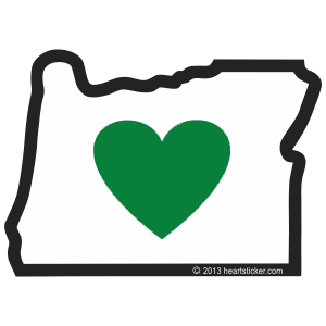 Heart in Oregon inside Window (Cling) - The Heart Sticker Company