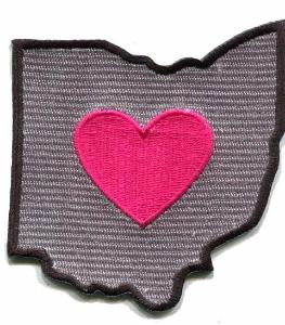 Ohio - Heart in Ohio OH Embroidered Sticker - Single