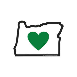 Oregon - Heart in Oregon Sticker (Small) 2-Pack