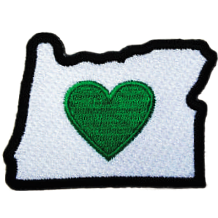 Oregon - Heart in Oregon Iron-on Patch Apply to coats, totes, and other fabric items with iron - The Heart Sticker Company