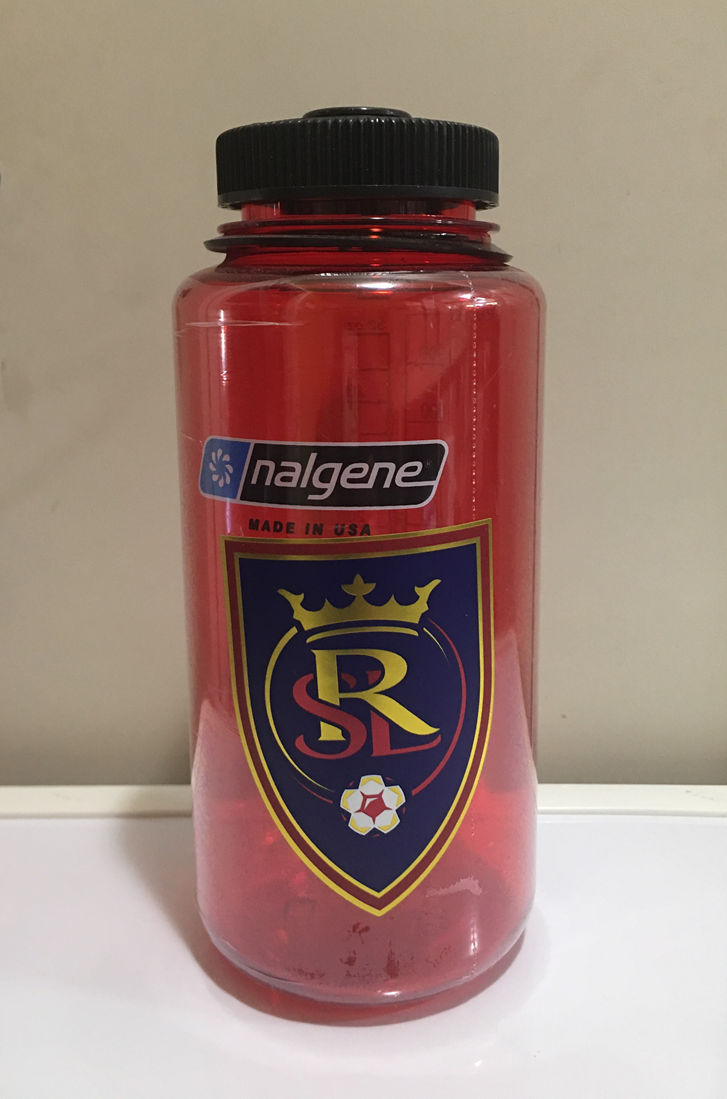 Real Salt Lake FC Chrome Sticker on a water bottle