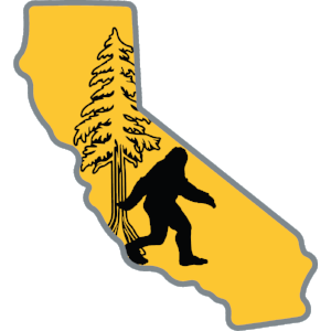 Bigfoot in California Sticker - The Heart Sticker Company