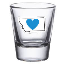 Heart in Montana Shot Glass - The Heart Sticker Company
