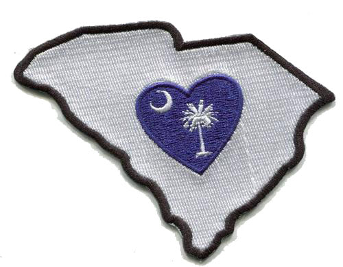 South Carolina - Heart in South Carolina SC Cooler Sticker Patch - Single