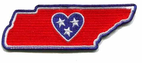 Tennessee - Heart in Tennessee TN Embroidered Sticker - Single - The Heart Sticker Company