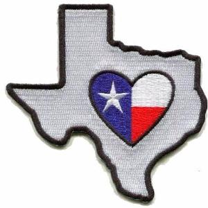 Texas - Heart in Texas TX Embroidered Sticker- Single