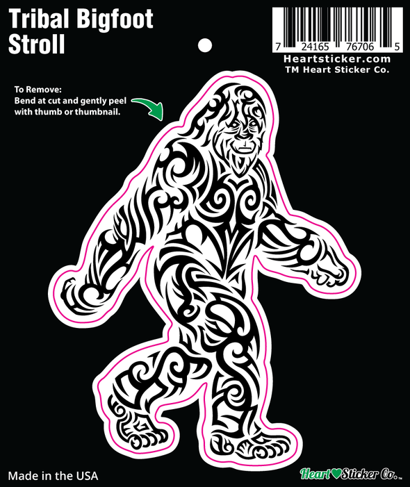 The Tribal Black and White Bigfoot Stroll Sticker Trippy Tattoo Design Heartsticker