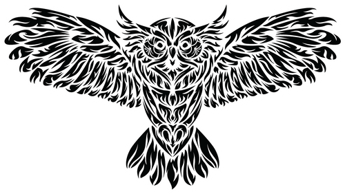 The Tribal Black and White Owl Sticker Trippy Tattoo Design Heartsticker Portland Bird Wings