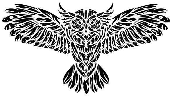 Tribal Owl Sticker - die cut - The Heart Sticker Company