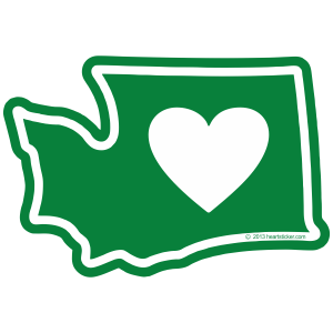 Heart in Washington Sticker (Large)