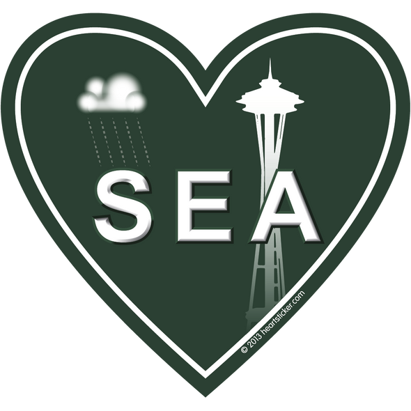 In My Heart - Washington, Space Needle Sticker - The Heart Sticker Company