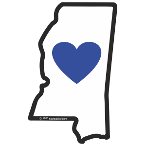 Heart in Mississippi Sticker - The Heart Sticker Company