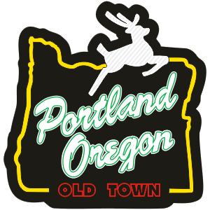 Sticker | Portland Stag Sign | Night - The Heart Sticker Company