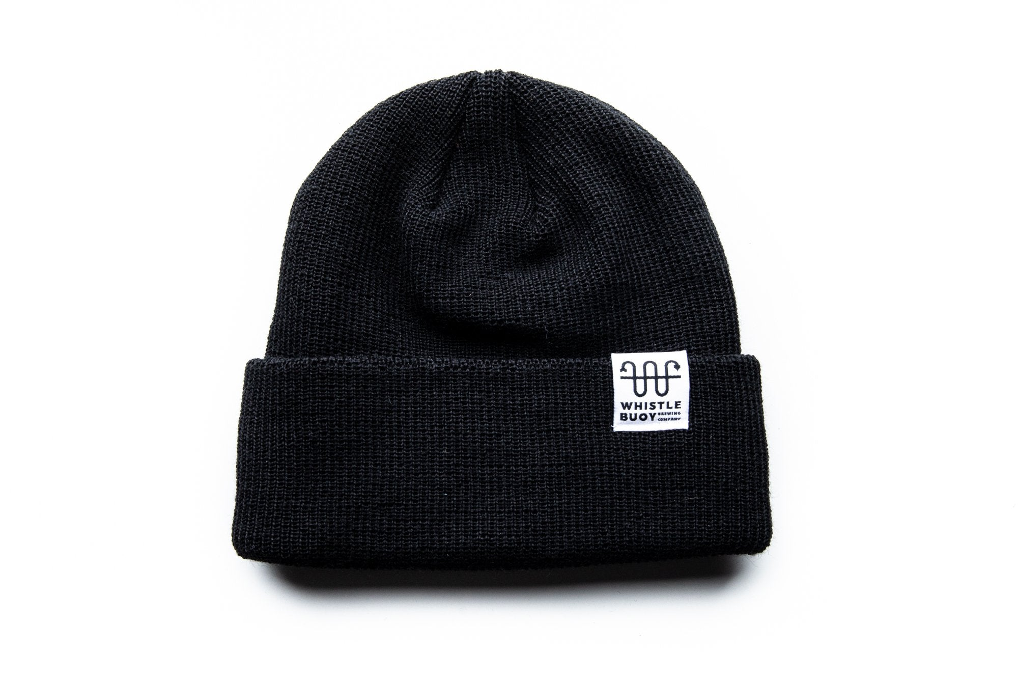 Whistle Buoy merino blend toque with white logo in black