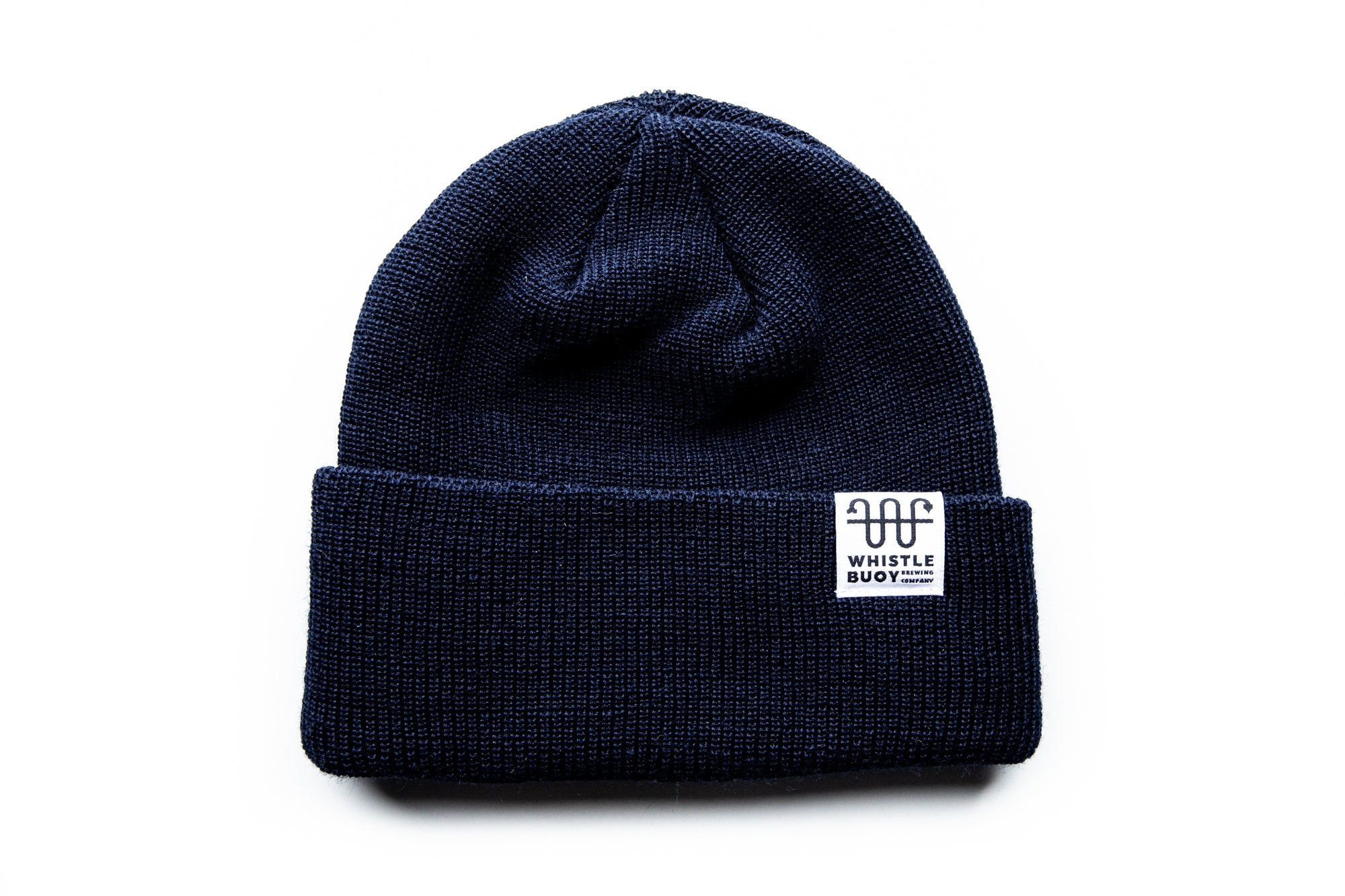 Whistle Buoy merino blend toque with white logo in blue