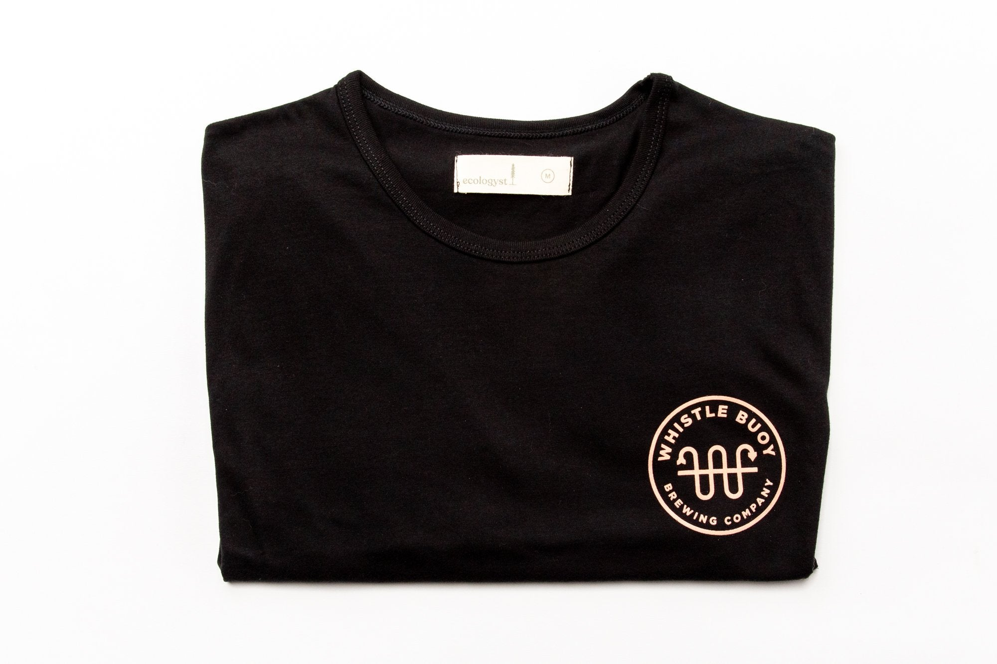 Whistle Buoy Black Emblem T w/ peach logo - studio shot