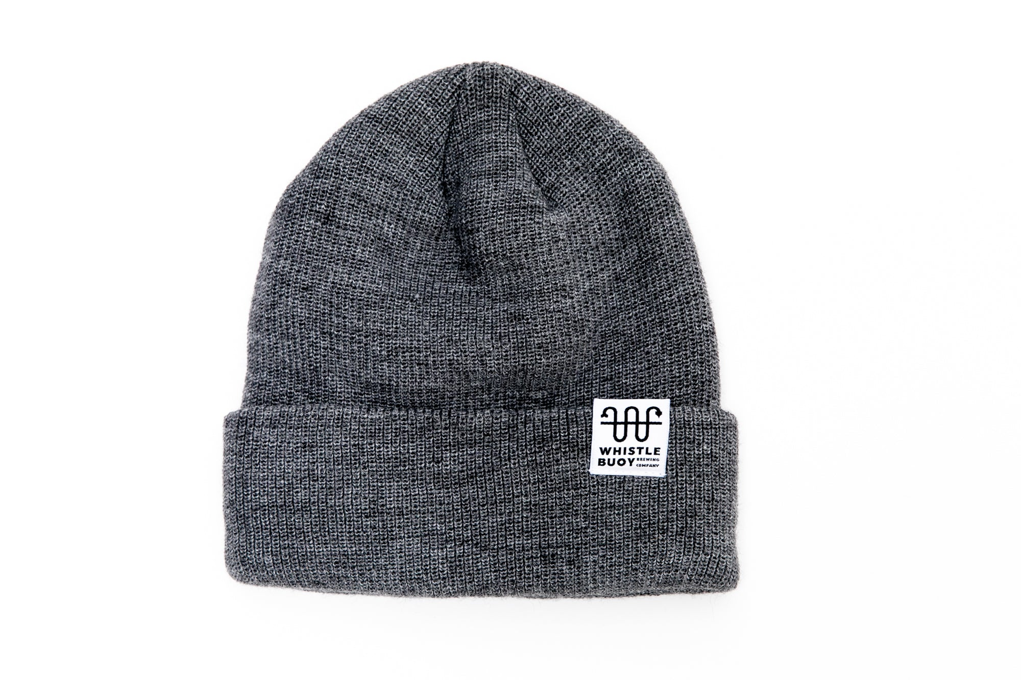 Whistle Buoy merino blend toque with white logo in grey