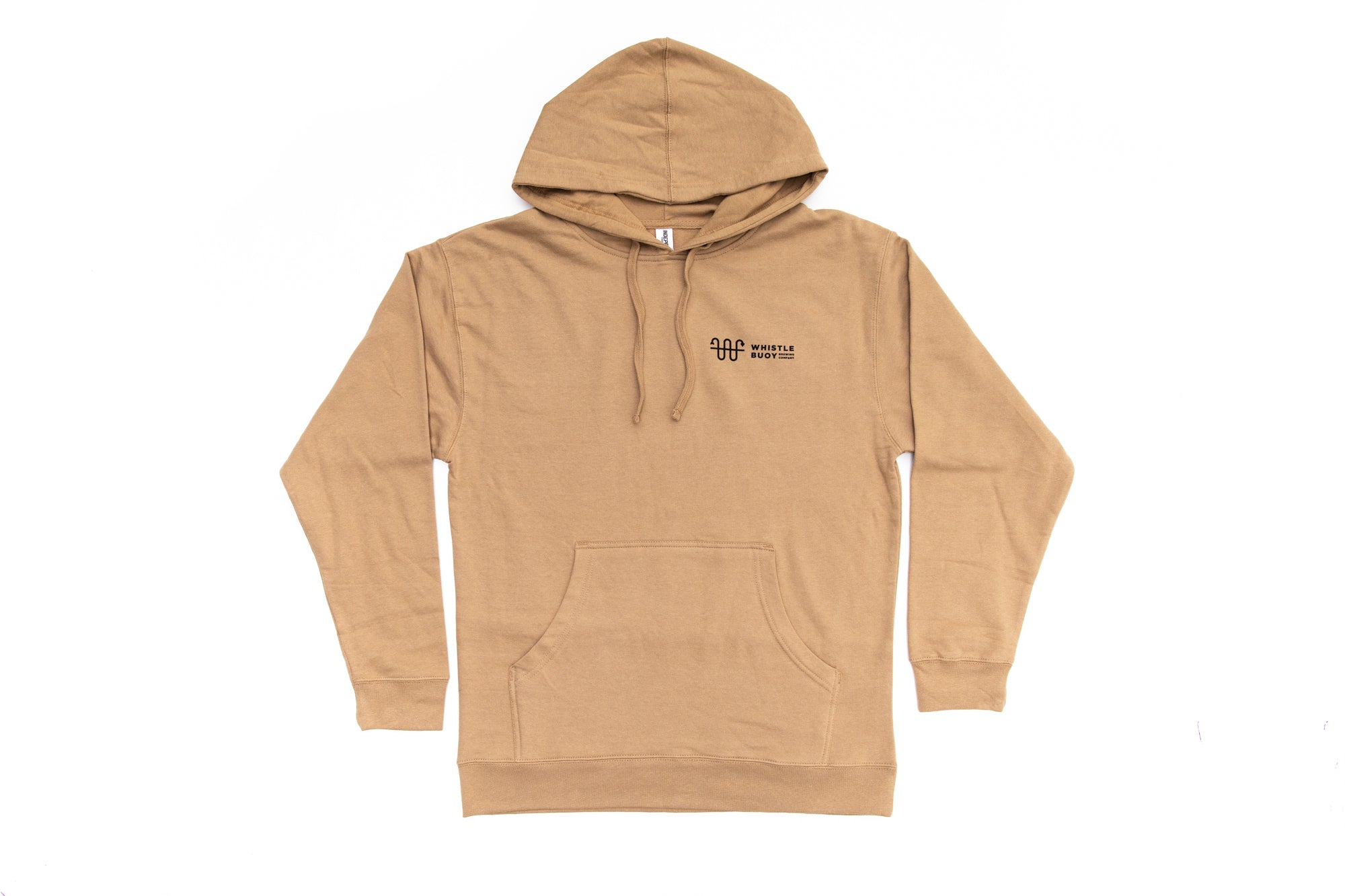 Front of Whistle Buoy Emblem Hoody - Sand colour studio shot