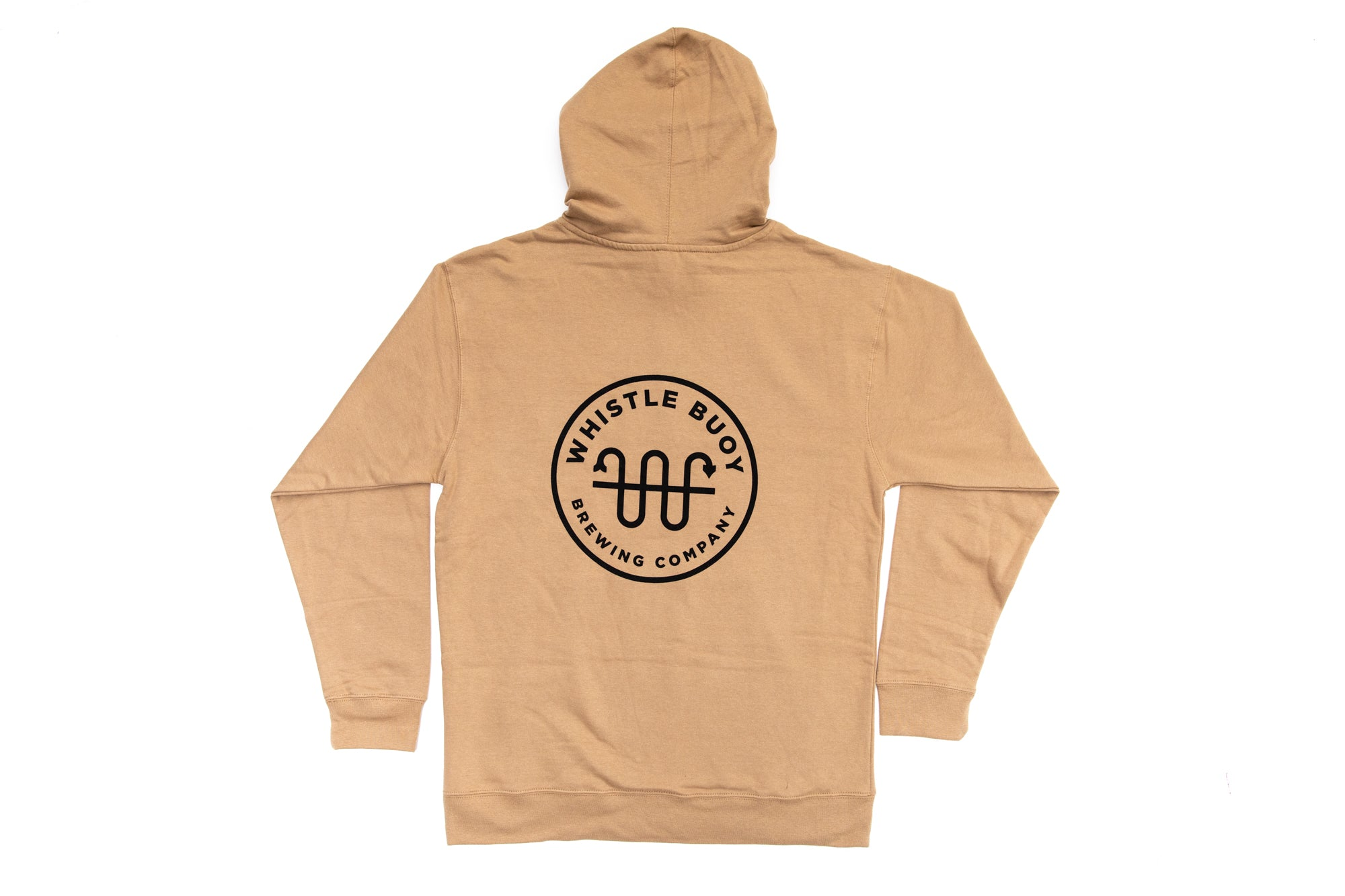 Back of Whistle Buoy Emblem Hoody - Sand colour studio shot