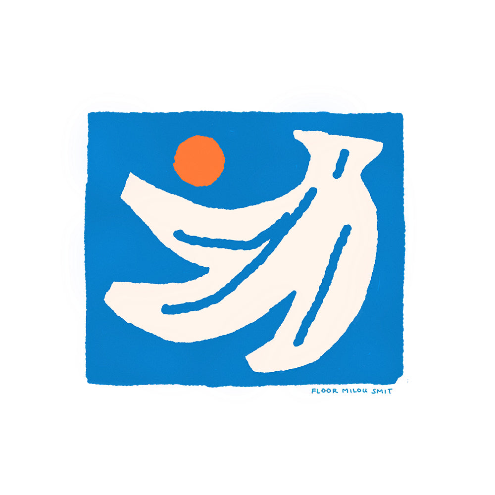 A detailed image of the illustration of an off-white hand of bananas with an orange circle next to them on a blue square background.