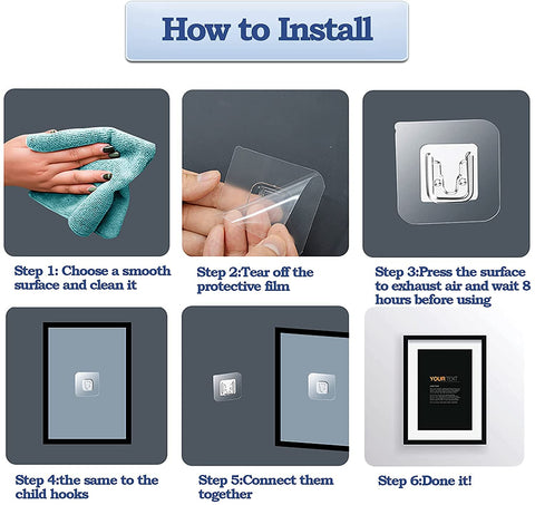 Install Double Sided Adhesive Magic Sticker Hooks