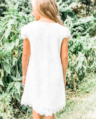 Chloe Cap Sleeve Lace Dress in White